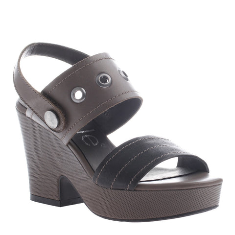 Nicole, Cecelia, Black Grey, Heel sandal with ankle strap