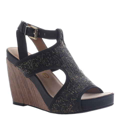 Nicole, Clementine,  Modern t-strap wedge with ankle buckle