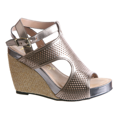 Nicole, Clementine, New Bronze, Modern t-strap wedge with ankle buckle