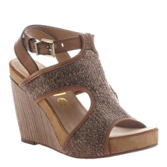 Nicole, Clementine, Tuscany, Modern t-strap wedge with ankle buckle
