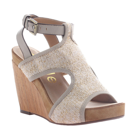 Nicole, Clementine, Winter White, Modern t-strap wedge with ankle buckle