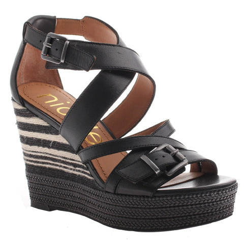 Nicole, Danica, Black, Strappy wedge with side buckles