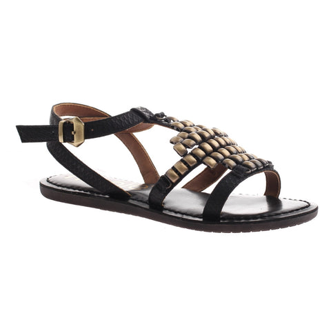Nicole, Dorrie, Black, Flat sandal with ankle strap and metal embellishments