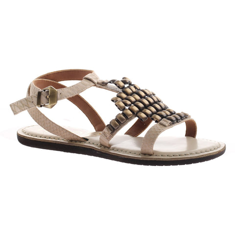 Nicole, Dorrie, ivory, Flat sandal with ankle strap and metal embellishments