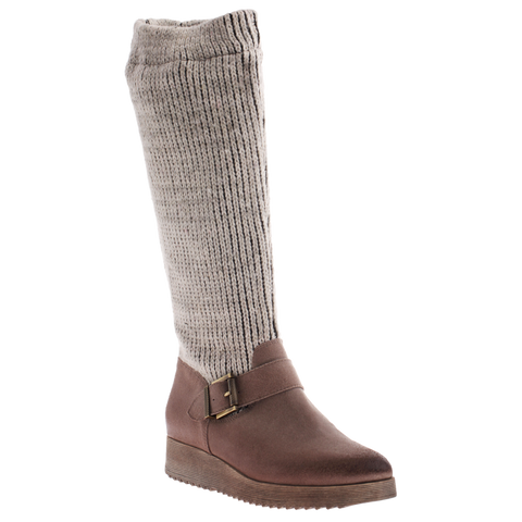 Nicole, Ellis, Natural, Pull up scrunchy sweater boot with side buckle