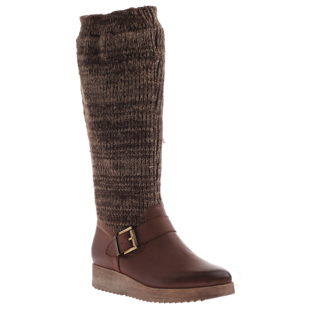 Nicole, Ellis, Rye, Pull up scrunchy sweater boot with side buckle