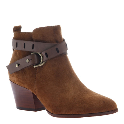 Nicole, Francis, Honey, Short suede bootie with side buckle straps