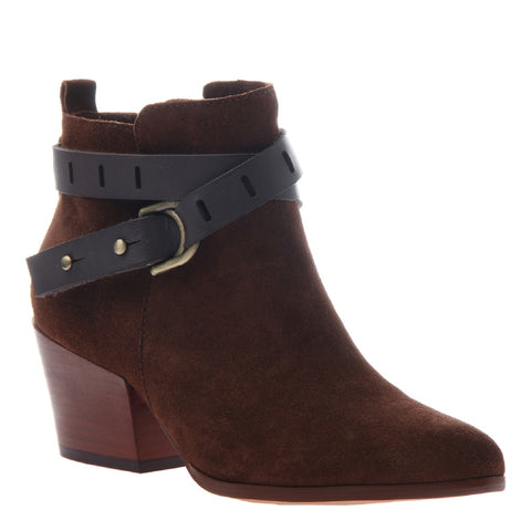 NINA in DARK BROWN Open Toe Booties