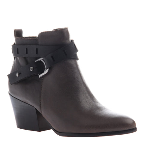 Nicole, Francis, New Grey, Short leather bootie with side buckle straps