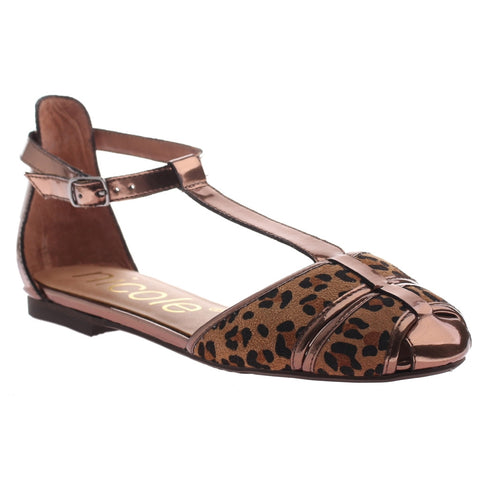 Nicole, Fredda, Dk Bronze Leopardprt, Kitten heel t-strap, closed toe with ankle strap