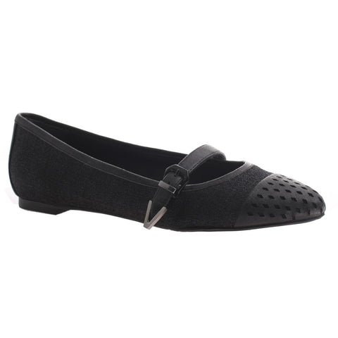 Nicole, Gin, Black, Pointed flat with top strap and buckle on the side