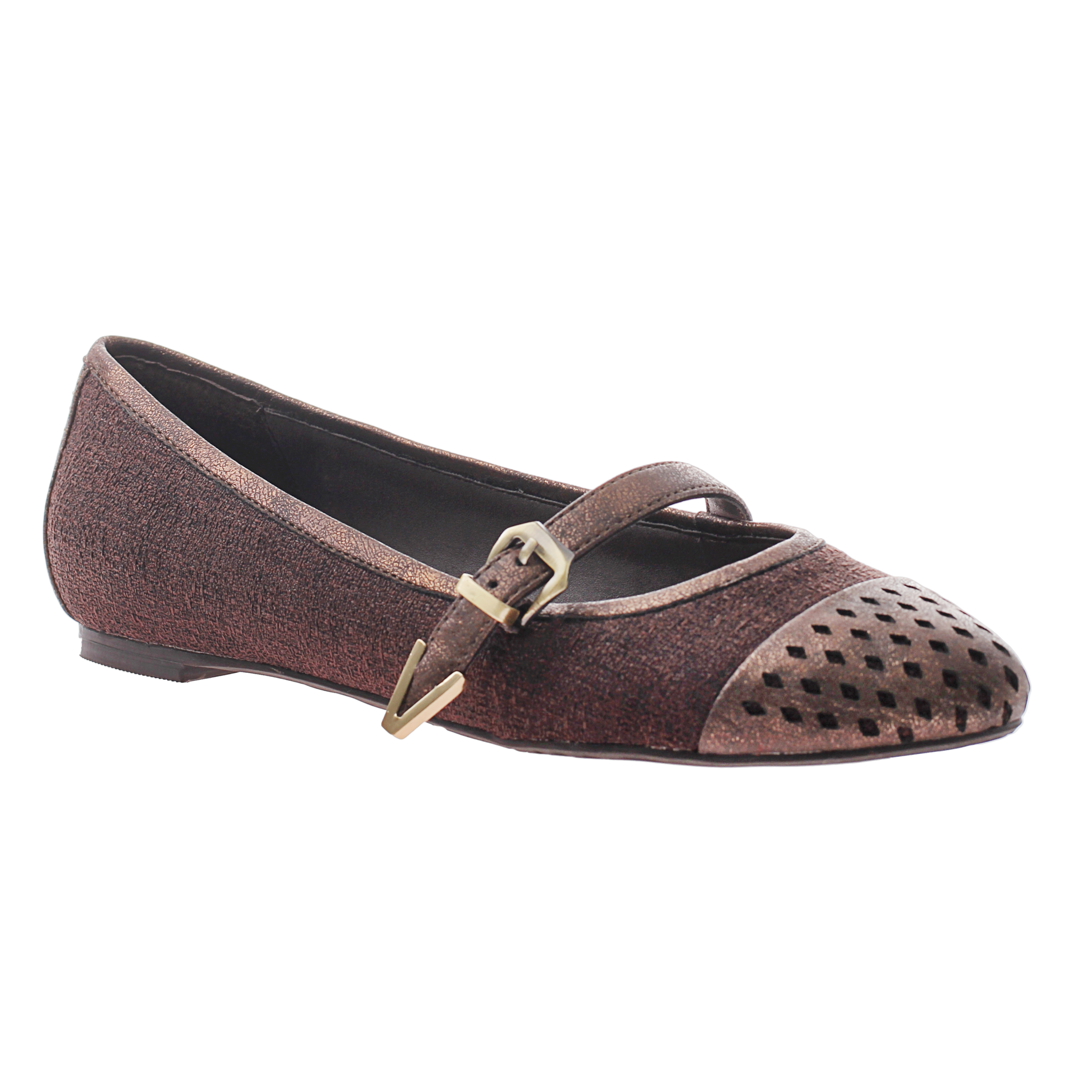 Nicole, Gin, Dark Brown, Pointed flat with top strap and buckle on the side