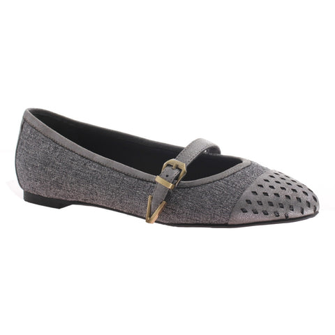 Nicole, Gin, Grey, Pointed flat with top strap and buckle on the side