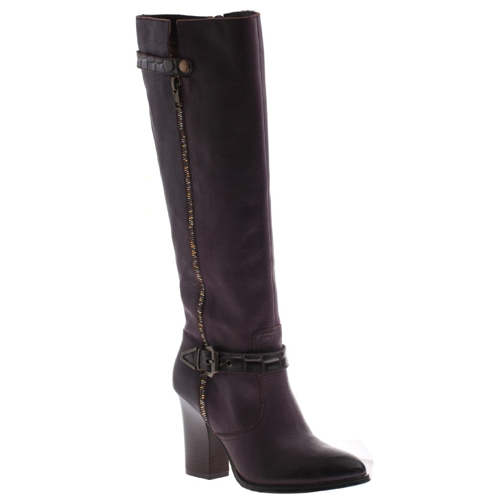 Nicole_Gloribel_Raisin_Tall heel boot with side buckle