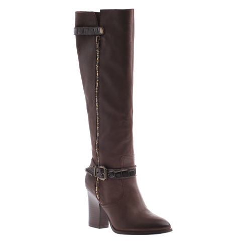 Nicole_Gloribel_Rich Brown_Tall heel boot with side buckle