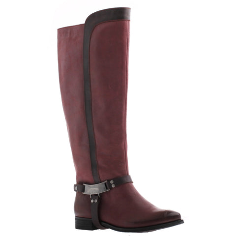 Nicole, Kali, Burgandy, Tall boot with metal side buckle