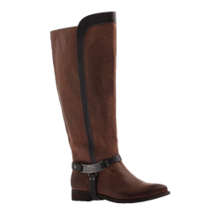 Nicole, Kali, Brown, Tall boot with metal side buckle