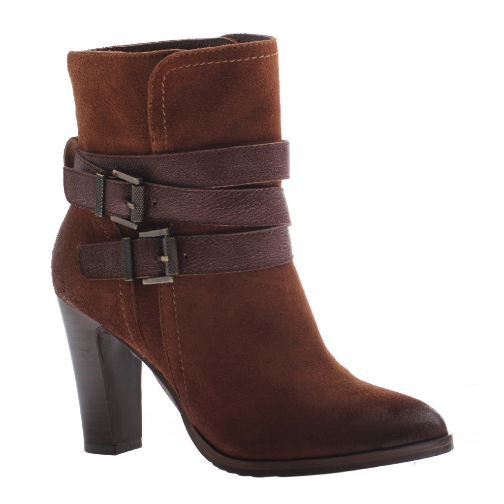 Nicole, Kalli, Friar Brown, Short bootie with side buckles and 3.5 inch heel
