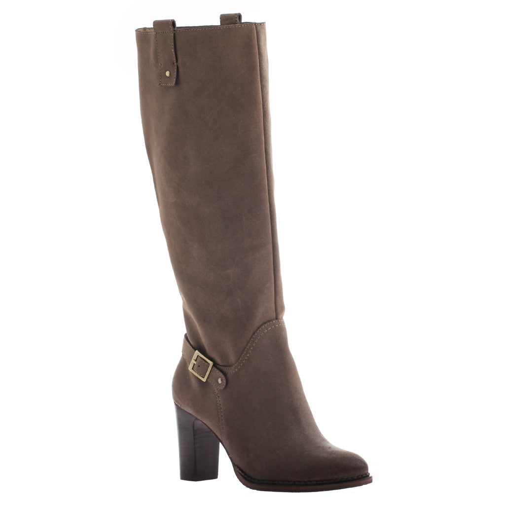 Nicole, Lan, Sandstone, Tall boot with square heel and side buckle