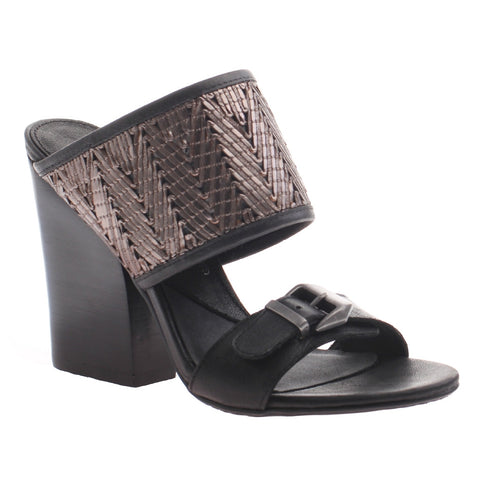 Nicole, Lanette, Black, classic mule with a stacked heel