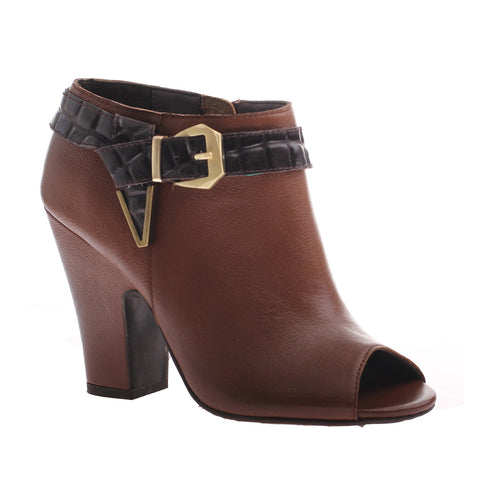 Nicole, Lin, New Tan, Heel bootie with side buckle and open toe