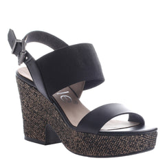 Nicole, Mikaela, Black, Ankle strap wedge, open toe and open heel