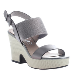Nicole, Mikaela, Dark Silver, Ankle strap wedge, open toe and open heel