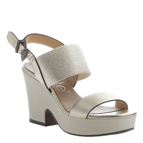 Nicole, Mikaela, Gold, Ankle strap wedge, open toe and open heel
