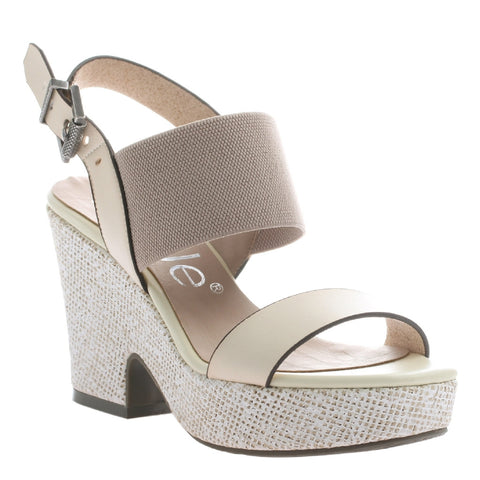 Nicole, Mikaela, Ivory, Ankle strap wedge, open toe and open heel