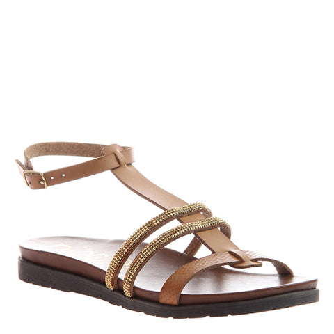 DELPHINE in BROWN LEATHER Heeled Sandals