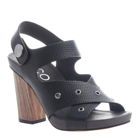 Nicole, Noemi, Black, Criss cross heel with velcro ankle strap