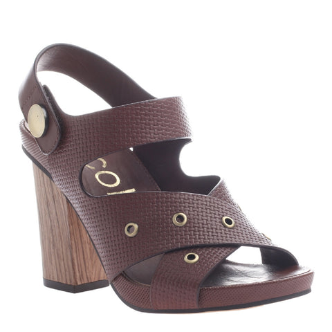 Nicole, Noemi, New Chestnut, Criss cross heel with velcro ankle strap