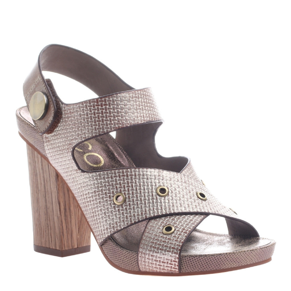 Nicole, Noemi, Old Gold, Criss cross heel with velcro ankle strap