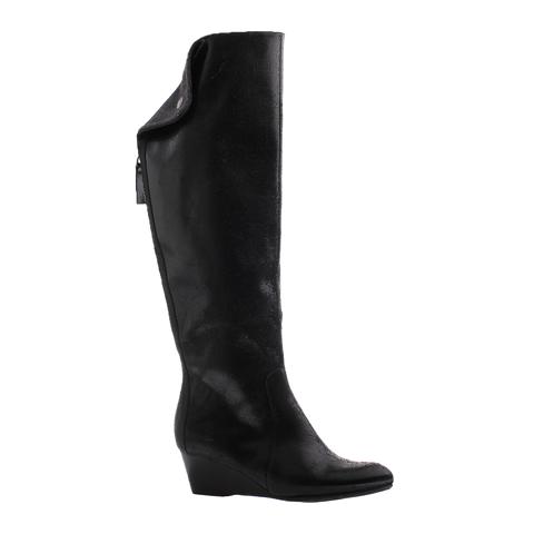 Nicole, Paris, Black, Tall leather wedge boot