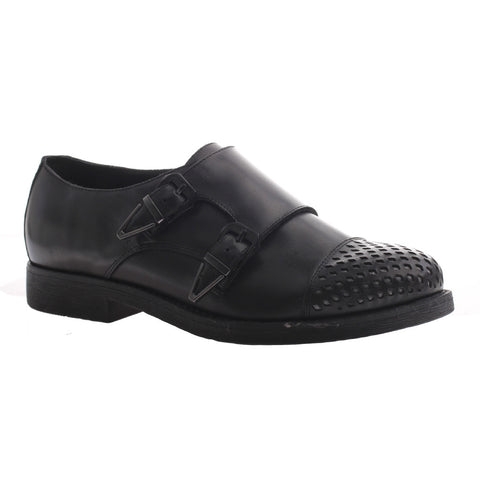 Nicole, Paule, Black, Double monkstrap flat with buckles