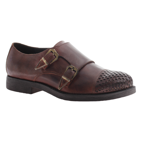 Nicole, Paule, Brown, Double Monk strap flat