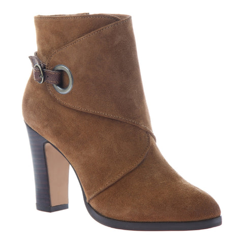 Nicole, Quinn, Honey, Mod heel bootie with side ornamentation