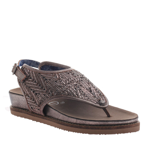 Nicole, Randi, New Pewter, Leather thong sling back sandal with buckle enclosure