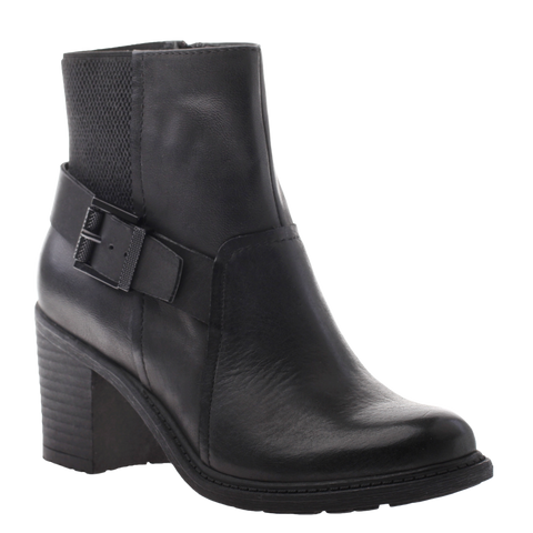 Nicole, Reiny, Black, Combat bootie with side buckle