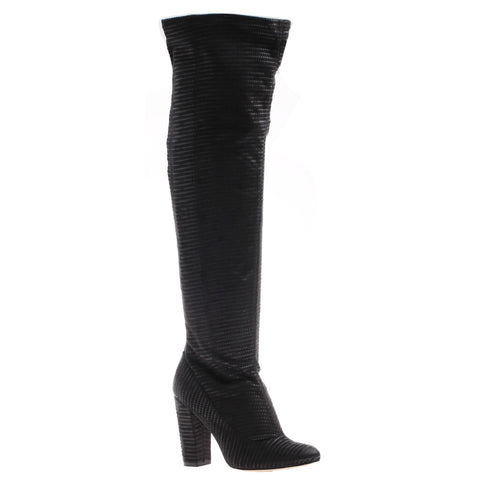 Nicole, Ricci, Black Fabric, Over the knee fabric heel boot