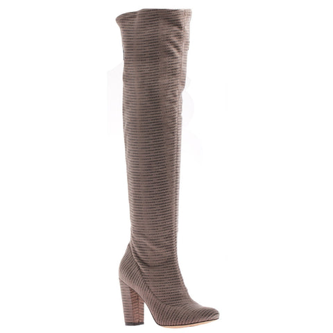 NNicole, Ricci,  Taupe, Over the knee fabric heel boot