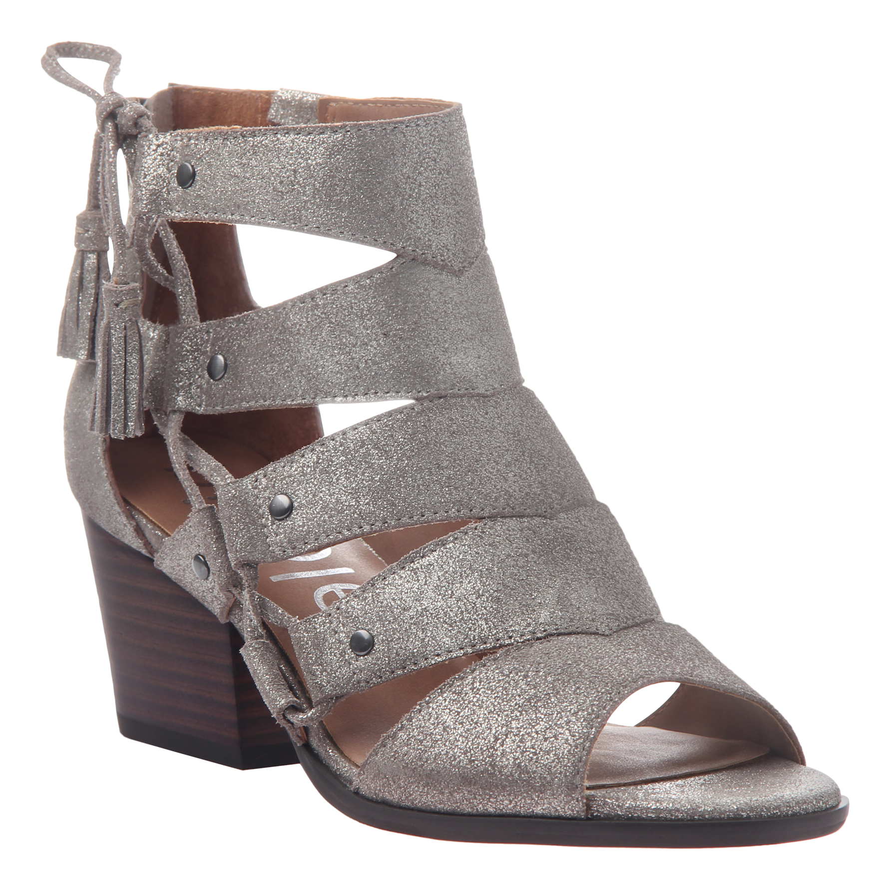 Tatiana womens heeled sandal in grey silver