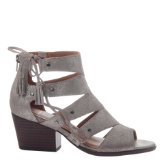 Tatiana womens heeled sandal in grey silver side view