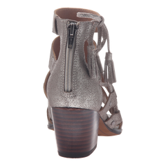 Tatiana womens heeled sandal in grey silver back view