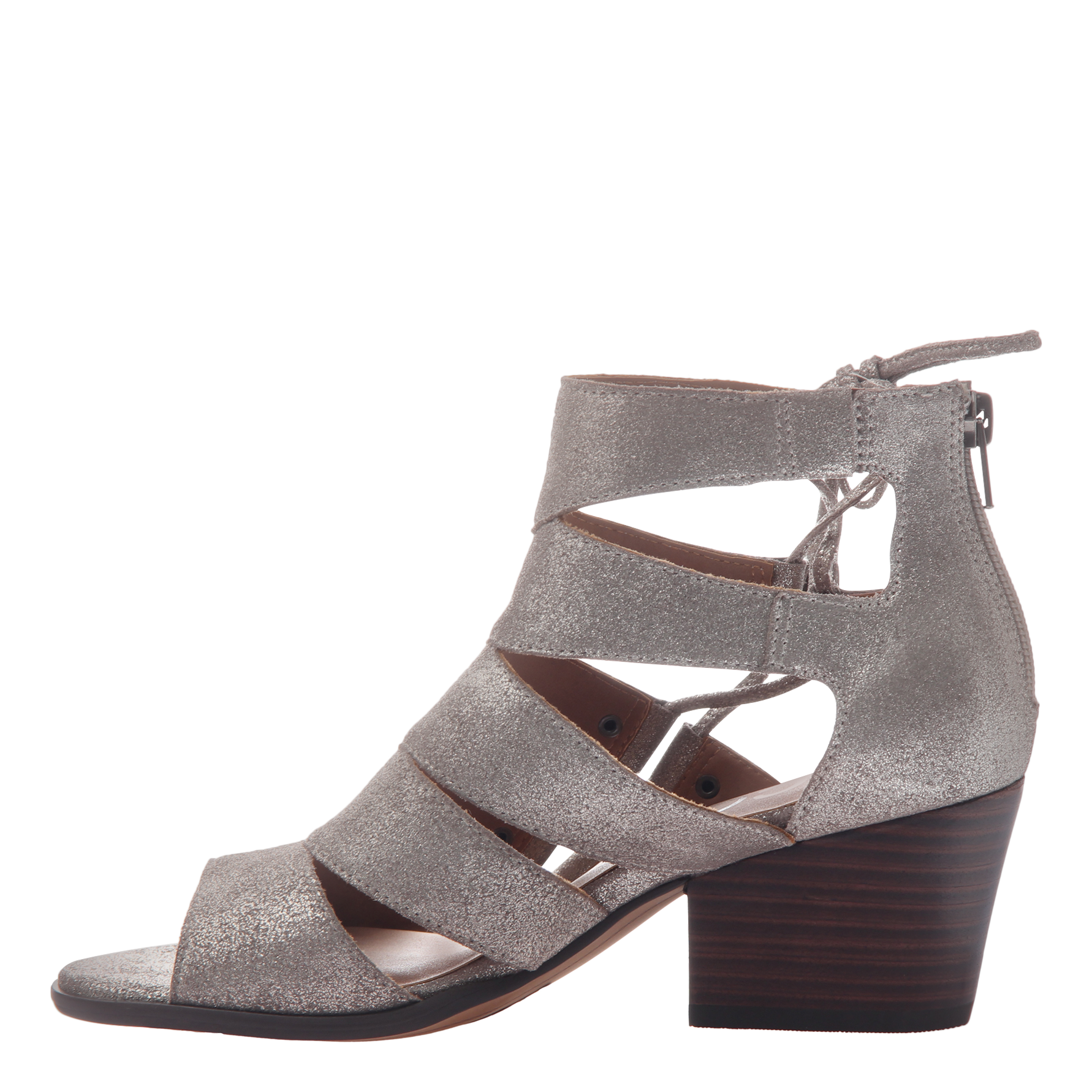 Tatiana womens heeled sandal in grey silver inside view