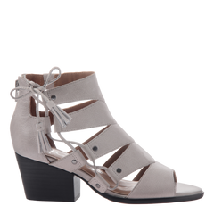 Tatiana womens heeled sandal in Light Clay side view