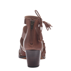 Tatiana womens heeled sandal in chestnut back view