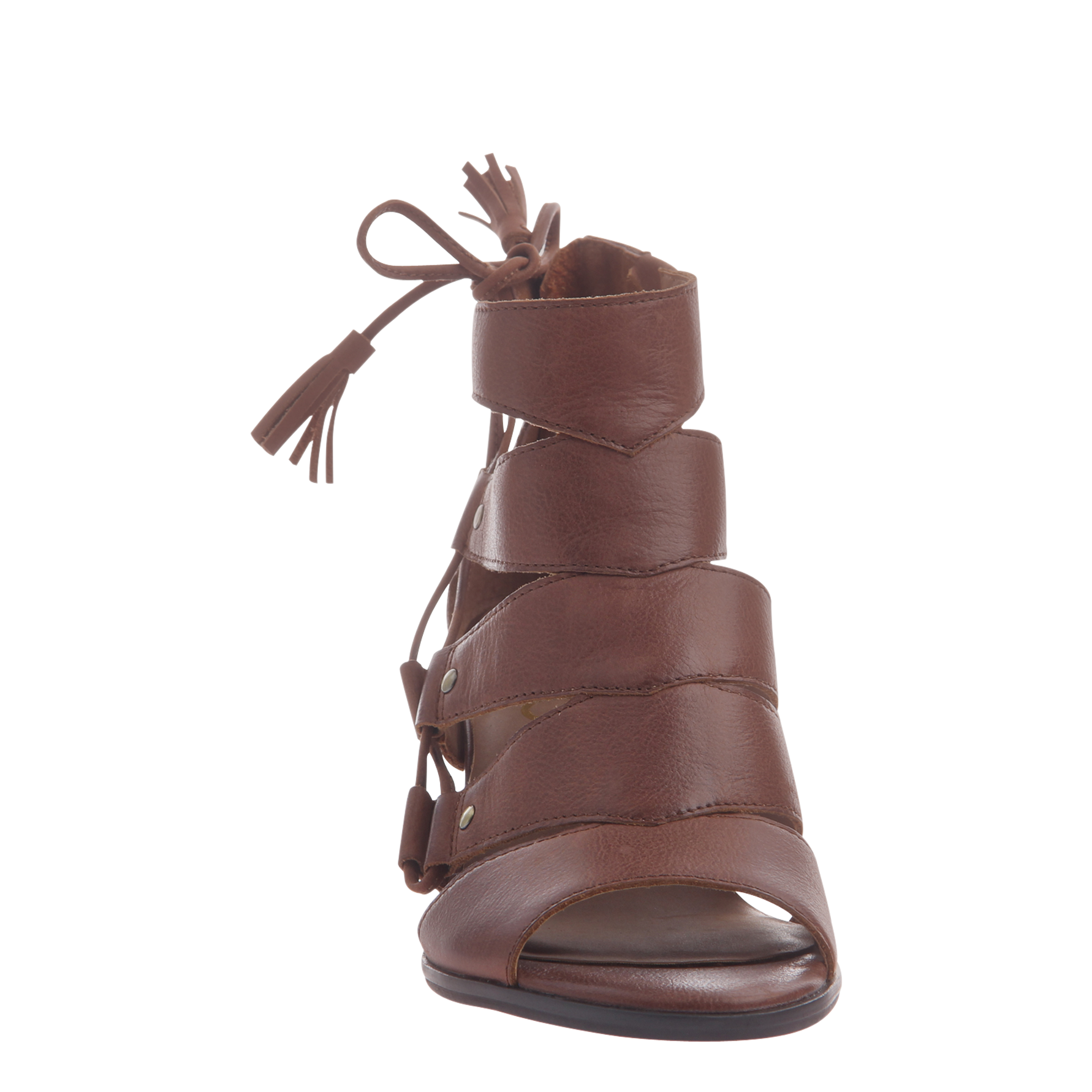 Tatiana womens heeled sandal in chestnut front view