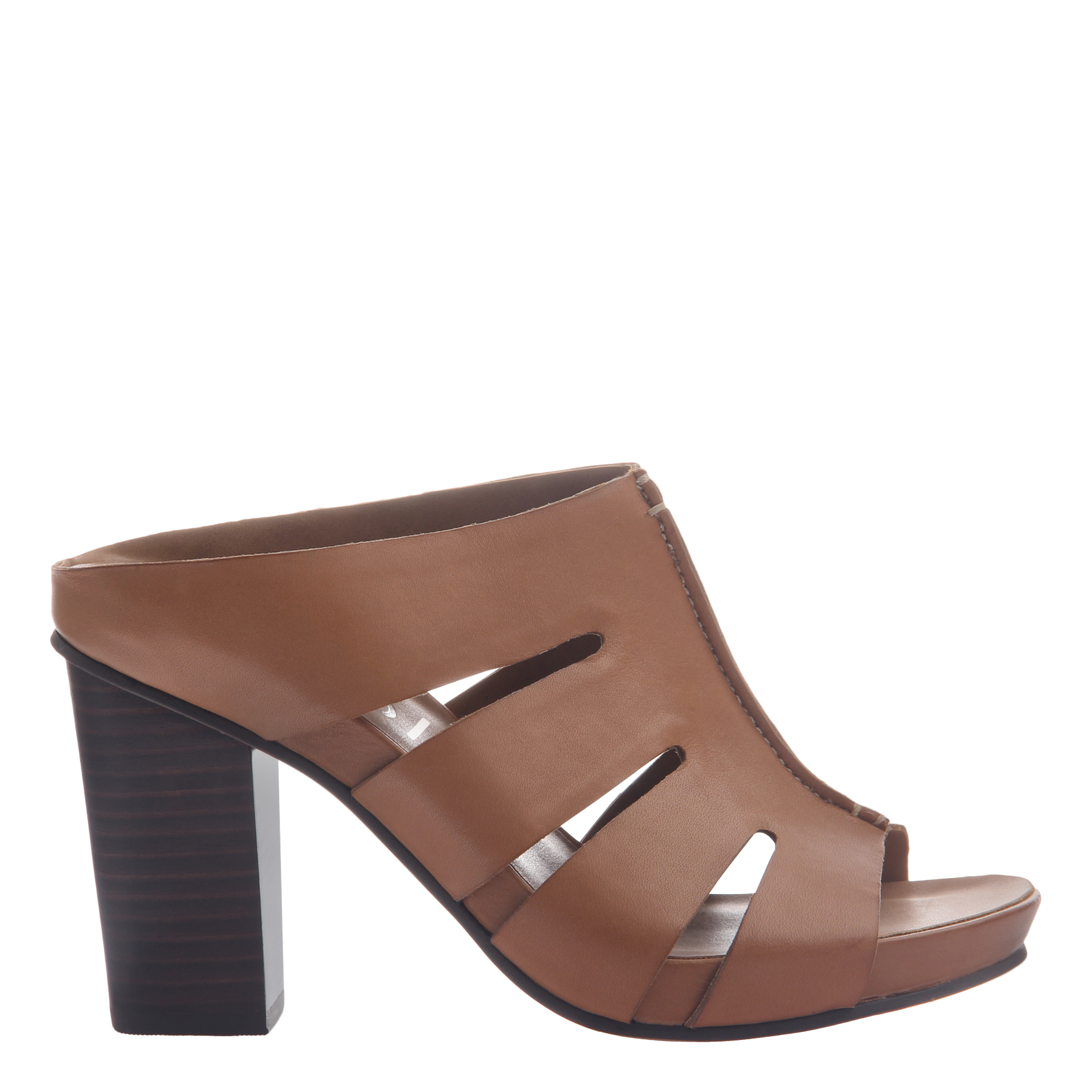 Nicole womens heeled sandal Delphine in brown leather side view