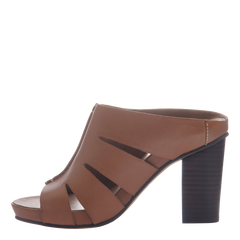 Nicole womens heeled sandal Delphine in brown leather inside view